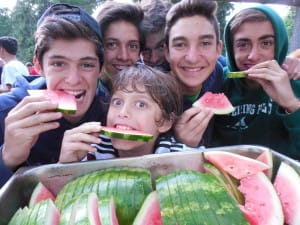 Watermelon with your friends.