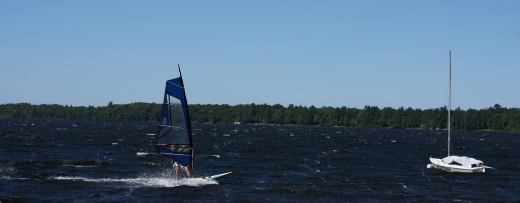 I can always trust Seth to cut up the lake in style on a windsurfer.