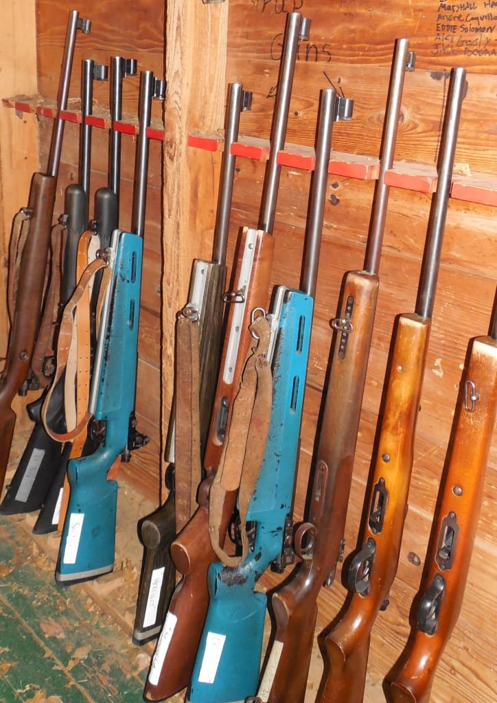 The rifles are locked up when not in use.