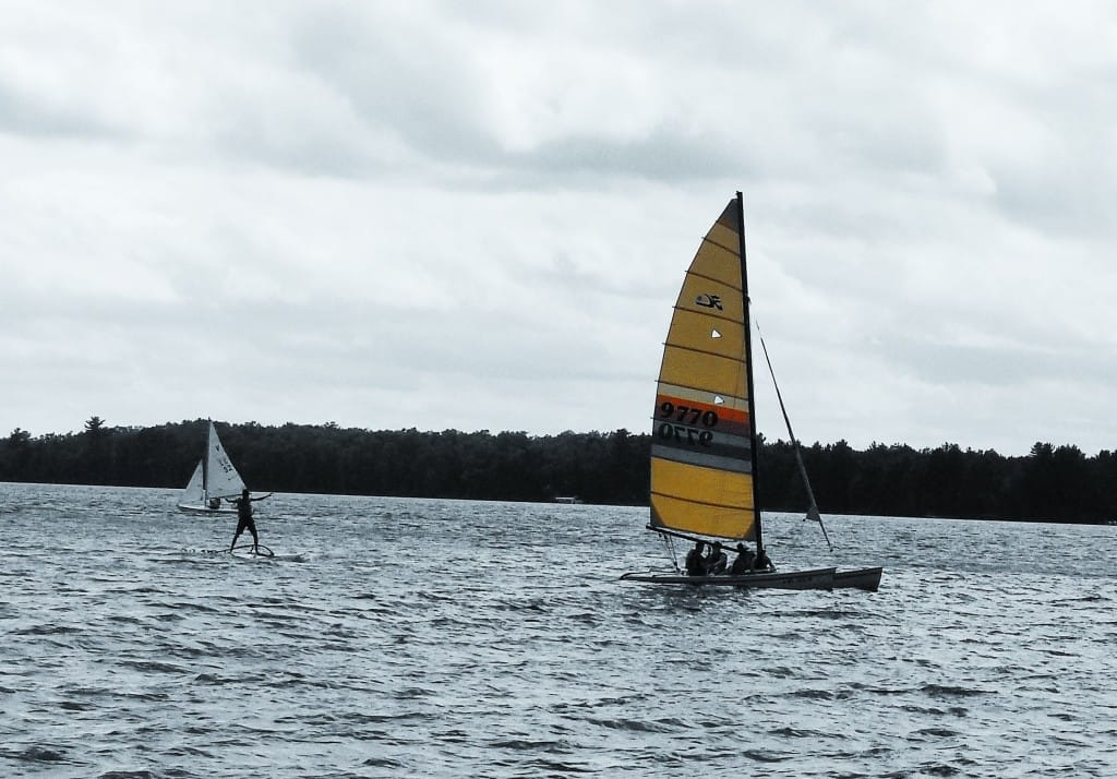 Lake Nokomis is alive with TP sailors, sailboards, kayakers, and swimmers.